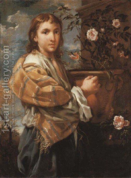 A young man with a pot of roses by Bernardo Keilhau - Reproduction Oil Painting
