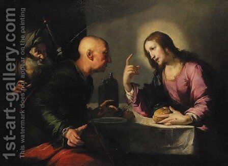 The Supper at Emmaus by Bernardo Strozzi - Reproduction Oil Painting