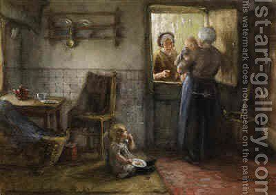 A Visitor at the Kitchen Door by Bernardus Johannes Blommers - Reproduction Oil Painting