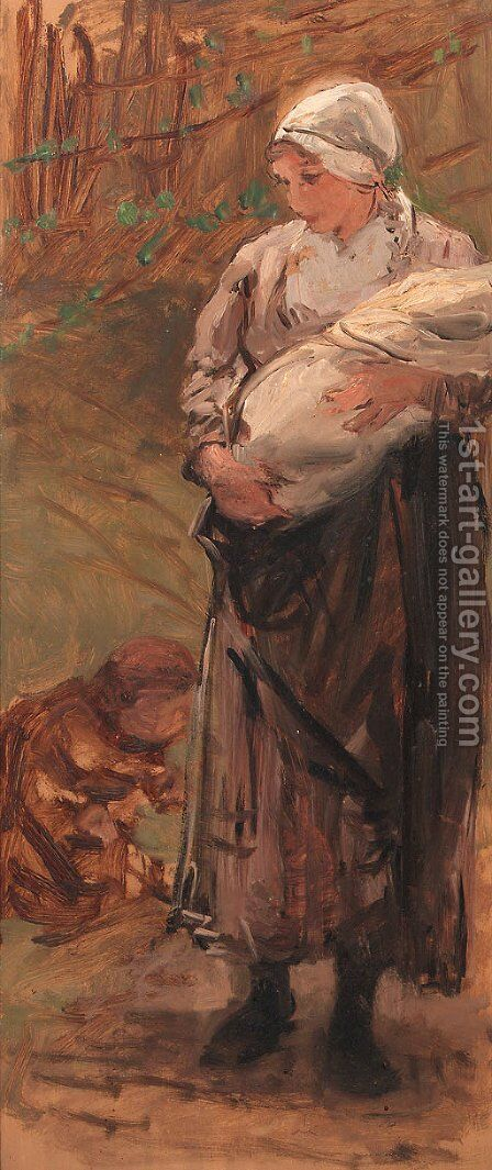 Mother and child by Bernardus Johannes Blommers - Reproduction Oil Painting