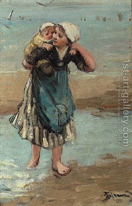 Piggyback on the beach by Bernardus Johannes Blommers - Reproduction Oil Painting