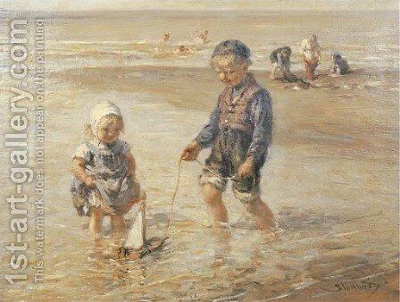 Playing in the surf by Bernardus Johannes Blommers - Reproduction Oil Painting