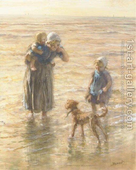 Playing in the surf 2 by Bernardus Johannes Blommers - Reproduction Oil Painting