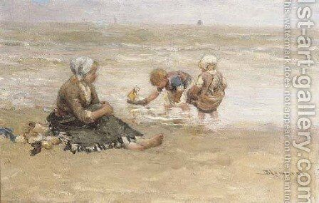 Pootje baden children playing on the beach by Bernardus Johannes Blommers - Reproduction Oil Painting