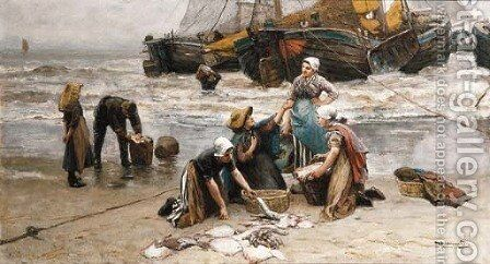 Sorting the catch 2 by Bernardus Johannes Blommers - Reproduction Oil Painting