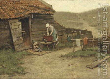 Washing day in the dunes by Bernardus Johannes Blommers - Reproduction Oil Painting