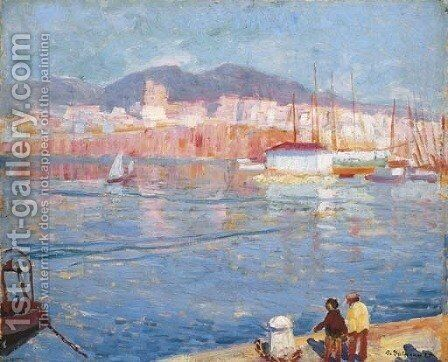 Early Morning Mallorca (St. Catalina from the Pier) by Bernhard Gutmann - Reproduction Oil Painting