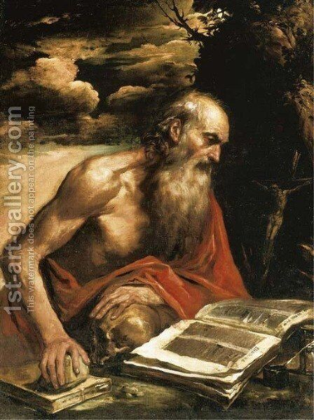 Saint Jerome by Bernhard Keil - Reproduction Oil Painting