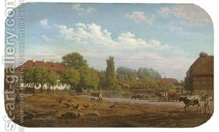 A view of the village of Hohen Demzin, Mecklenburg Vorpommern, Germany by Bernhard Schmidt - Reproduction Oil Painting