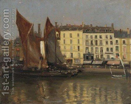 Sailing vessels in harbour, Dieppe by Bernard Sickert - Reproduction Oil Painting