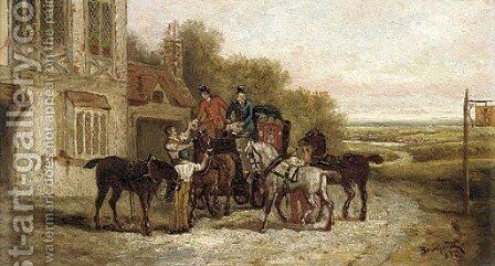 Changing the horses by Bernhard Keil - Reproduction Oil Painting