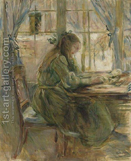 Jeune fille ecrivant by Berthe Morisot - Reproduction Oil Painting