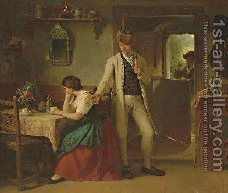 The Departure by Berthold Woltze - Reproduction Oil Painting