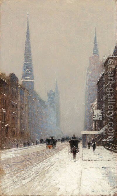Fifth Avenue in Winter by Birge Harrison - Reproduction Oil Painting