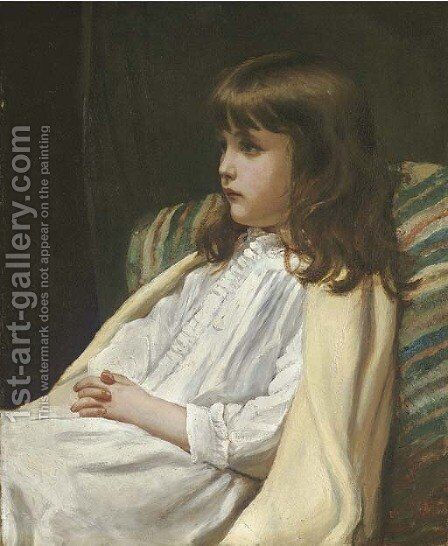 Portrait of a girl, seated three-quarter length, in a white dress by Blanche F MacArthur - Reproduction Oil Painting
