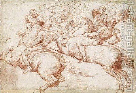 Studies After Raphael Two Horsemen Recoiling, With Soldiers In The Background by Boccaccio Boccaccino - Reproduction Oil Painting