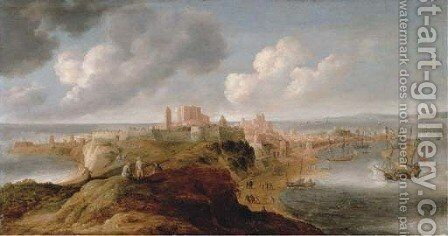 A fortified port on a promontory, an English frigate firing a salute by Bonaventura, the Elder Peeters - Reproduction Oil Painting