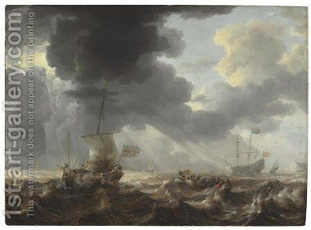 Ships on a stormy sea by Bonaventura, the Elder Peeters - Reproduction Oil Painting