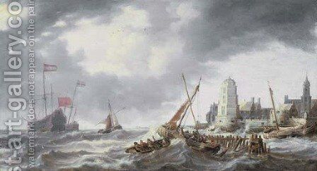 Frigates, smalschips and other shipping in a stiff breeze off a port by Bonaventura, the Elder Peeters - Reproduction Oil Painting