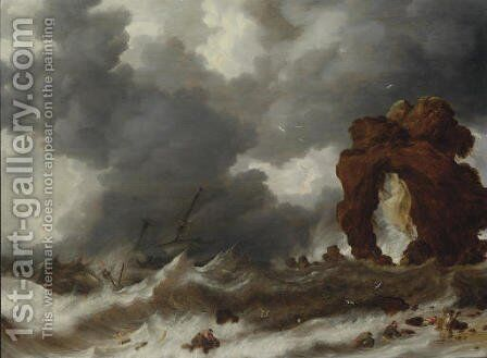 Stormy seas with a shipwreck by Bonaventura, the Elder Peeters - Reproduction Oil Painting