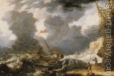 Ships foundering off a rocky coast by Bonaventura, the Elder Peeters - Reproduction Oil Painting