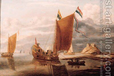 The Zeeland State yacht on the river Scheld in a calm by Bonaventura, the Elder Peeters - Reproduction Oil Painting