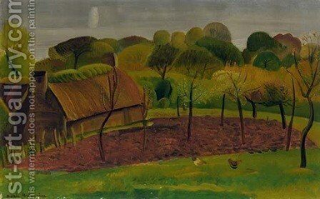 Farm House with Orchard by Boris Dmitrievich Grigoriev - Reproduction Oil Painting