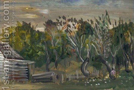 Landscape with a Loghouse by Boris Dmitrievich Grigoriev - Reproduction Oil Painting