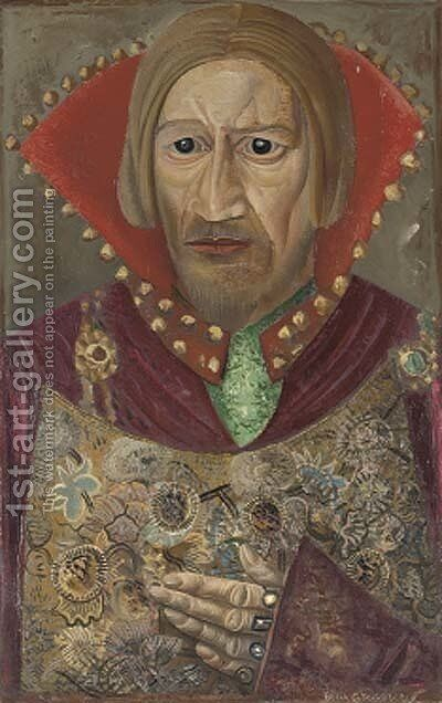 Portrait of Vasilii Kachalov as Tsar Fedor by Boris Dmitrievich Grigoriev - Reproduction Oil Painting