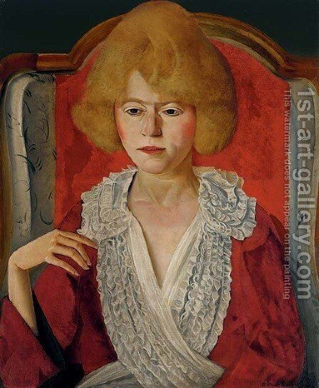 Une Francaise, Portrait of Mrs. Adeline Harold Pynchon by Boris Dmitrievich Grigoriev - Reproduction Oil Painting