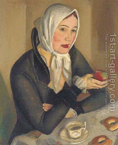 Woman with apples by Boris Dmitrievich Grigoriev - Reproduction Oil Painting