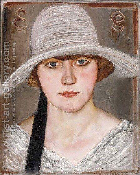 Portrait of a Lady in a Hat by Boris Dmitrievich Grigoriev - Reproduction Oil Painting