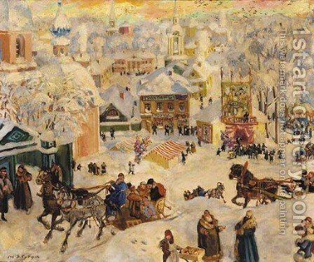 Celebration at Shrovetide by Boris Kustodiev - Reproduction Oil Painting