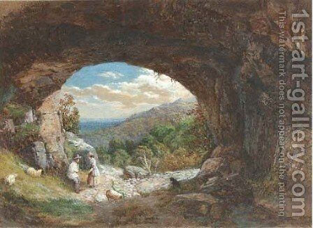 Figures at the entrance to a cave, an extensive landscape beyond by Bradford Rudge - Reproduction Oil Painting