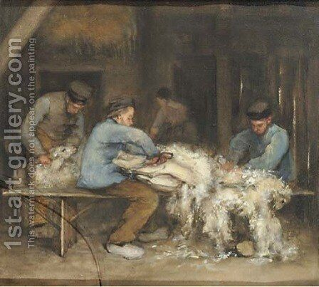 Sheep shearing by Bramine Grandmont-Hubrecht - Reproduction Oil Painting