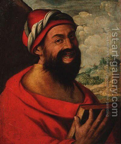 A man laughing by Brescian School - Reproduction Oil Painting