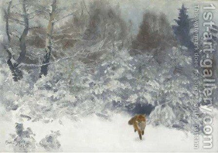 Fox in a Winter landscape 2 by Bruno Andreas Liljefors - Reproduction Oil Painting