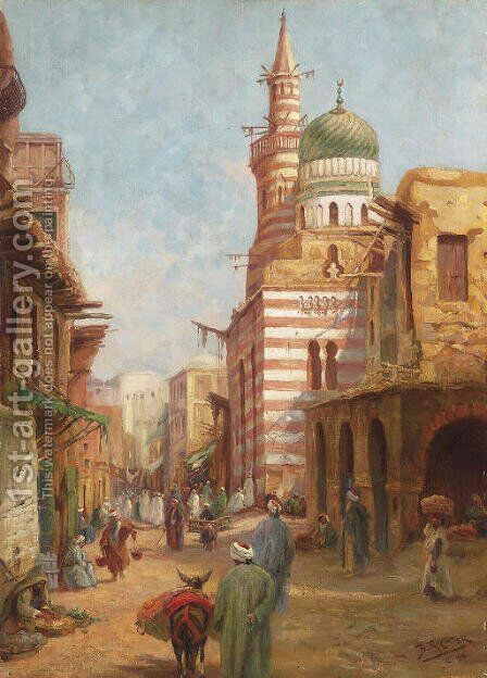 The Mosque of Aytmish al-Bagazi, Old Cairo by Adrian Ludwig Richter - Reproduction Oil Painting