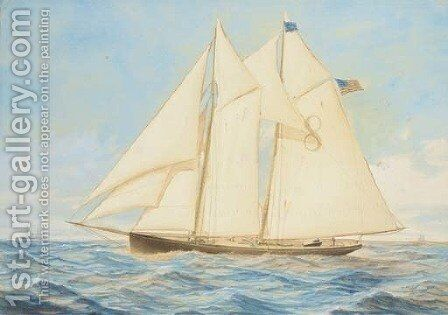 The New York pilot cutter Edward E. Barrett off the approaches to the harbour by C. Freitag - Reproduction Oil Painting