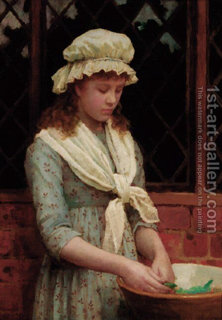 Shelling peas by Charles Haigh-Wood - Reproduction Oil Painting