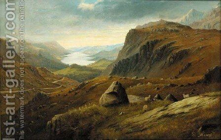 An extensive Highland landscape, thought to be Loch Ness by C. Howe - Reproduction Oil Painting
