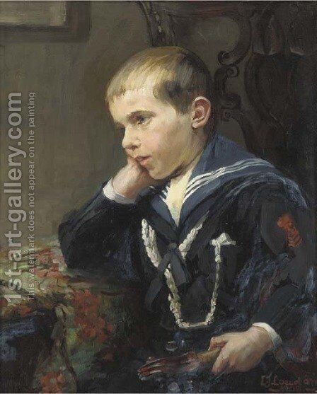 Portrait of a young boy, bust-length, in a sailor suit, holding a violin under his left arm by Jane Loudon - Reproduction Oil Painting