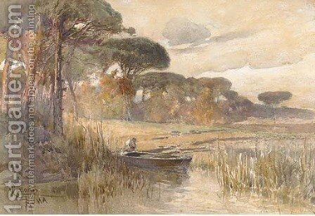 Figure in a boat at the river's edge, in a wooded landscape by C. Karlandi - Reproduction Oil Painting