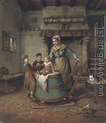 The butter churn by Charles Petit - Reproduction Oil Painting