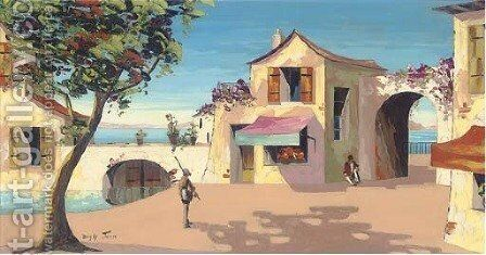 A quiet village on the coast by Charles D'Oyly - Reproduction Oil Painting