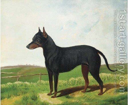 A Manchester terrier in a landscape by C. Smith - Reproduction Oil Painting