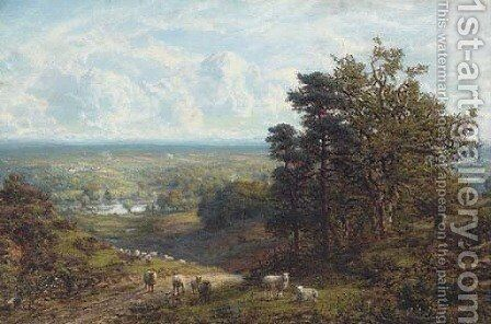 Sheep on a hillside overlooking an extensive landscape by C. W. Mole - Reproduction Oil Painting