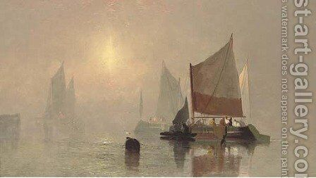 Fishing boats in the early morning mist by C. Webster - Reproduction Oil Painting