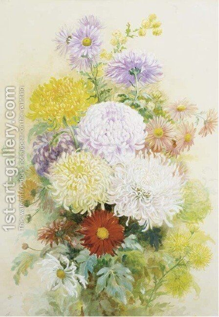 A vase of crysanthemuns and asters by C. Wilson - Reproduction Oil Painting