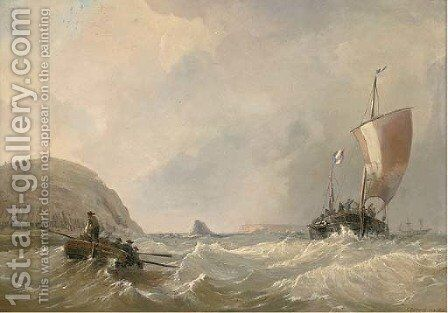 Blustery conditions off the French coast by C.E. Strong - Reproduction Oil Painting